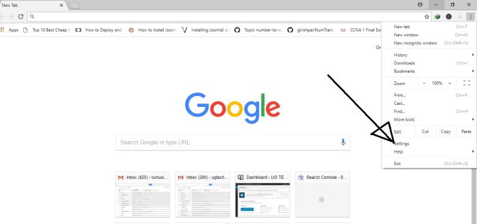 select settings in google chrome menu