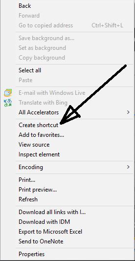 create website shortcut