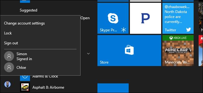 Fast user switching windows 10