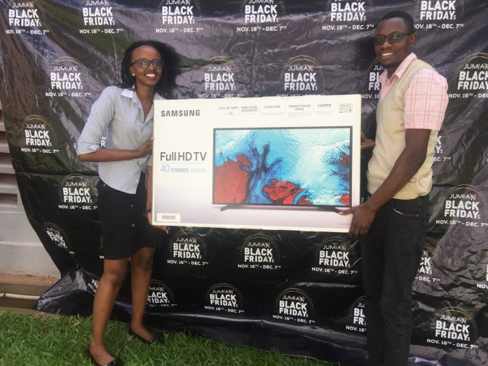 """Meet Enoch Jacob Masinde, who successfully hunted for the Samsung 40"""" TV and grabbed it at 15,800 UGX."""