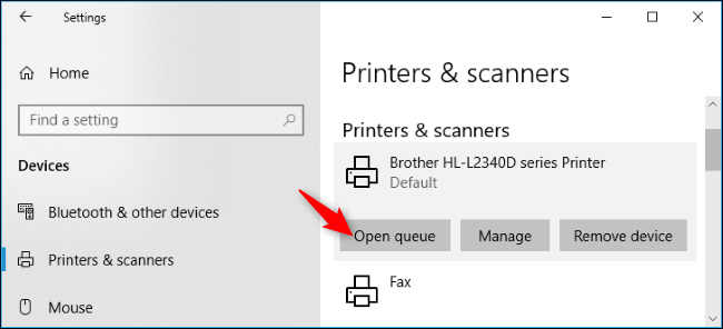 open queue in printers and scanners