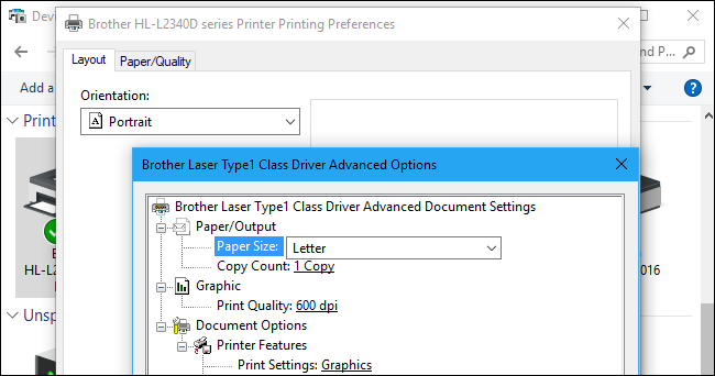 changing the printing preference