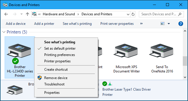 Device and printers windows 10