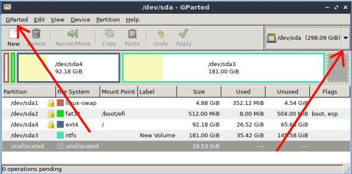 select USB drive partition