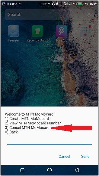 canceling MTN MoMocard