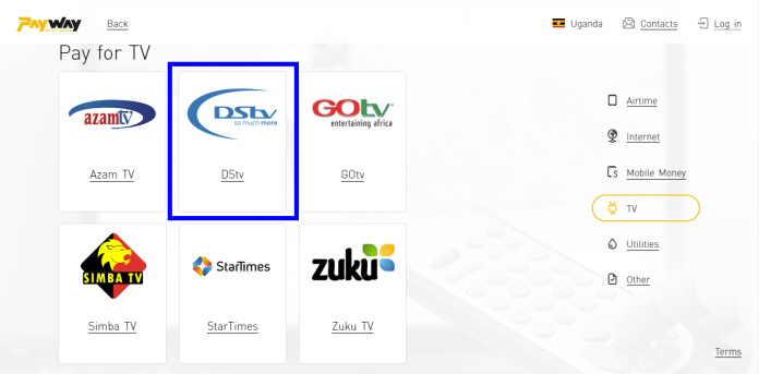 Pay for DSTV with PayWay Uganda