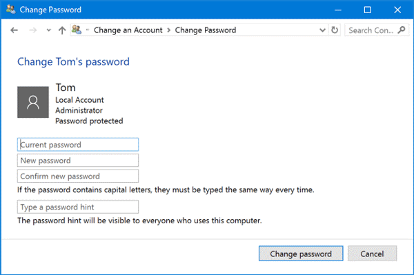 change passwords on Windows 10 - ugtechmag