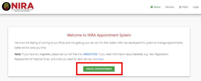 Schedule NIRA appointment onlin
