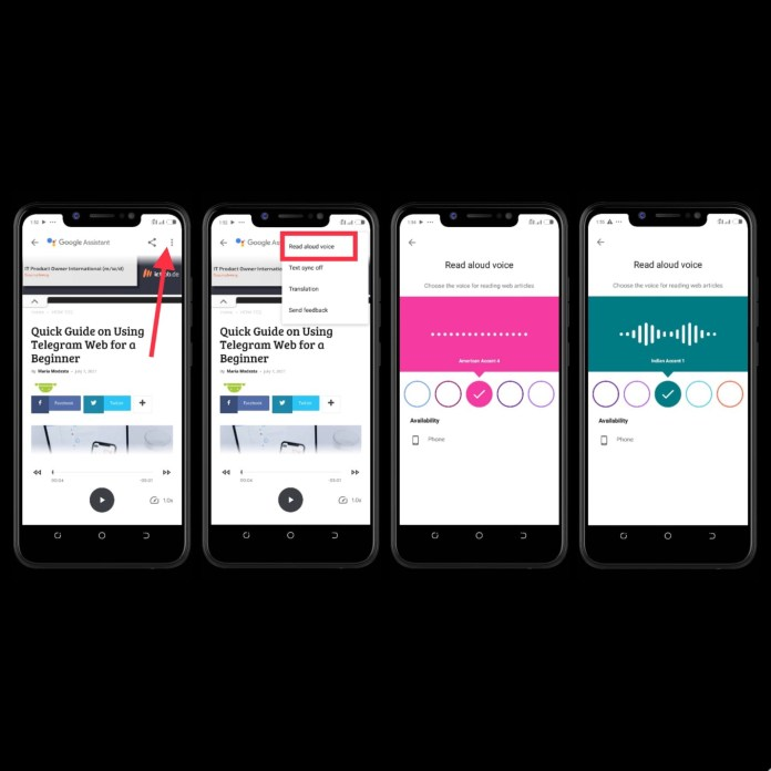 Image shows a step by step process on how to change Read Aloud Voice Assistant Accent