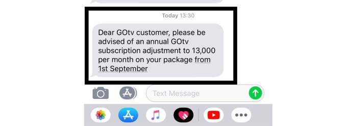 GOtv message about the increased DStv, GOtv subscription fees