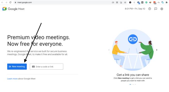 "click""New Meeting."" on Google meet"