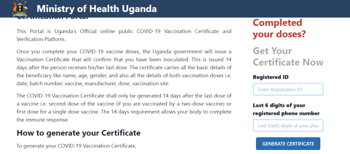 digital covid19 vaccination certificate in Uganda