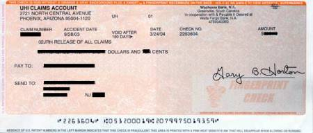 U-Haul claim settlement check.  Woohoo!!  U-Haul Sucks.