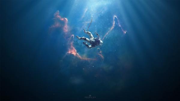 Astronaut, nebula, surreal, stars   Desktop wallpaper 2K ...