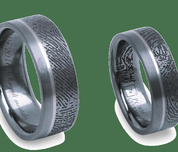 Der Salzburger Juwelierwaren KREMO kreativ modern Juwelier Salzburg Tantal Ringe Tantalum Trauringe sind einfach etwas Besonderes…Fingerprint