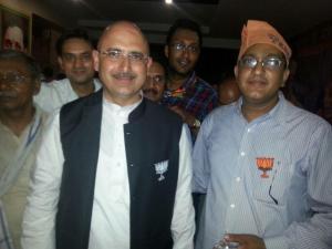 Neeraj Shah and a representative of Prime Minister Narenda Modi in Varanasi, India  MAHIMA VERMA (STAFF)