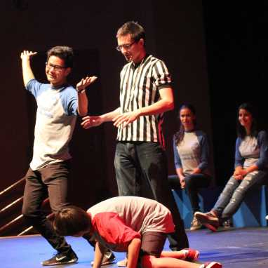 James Gui (Jr.) pretends to be an atomic bomb while Francisco Lazo (So.) acts as a turtle. (Diana Zhang)