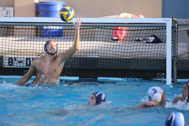 Matt Moran (#1) blocks a shot from WHS, one of his 12 saves in the game (Jerry Park)