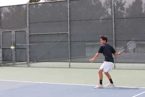 Tommy Wang (Jr.), pictured here in a match against Marina High School, is predicted to be a critical component of the team next year. (Diana Zhang)