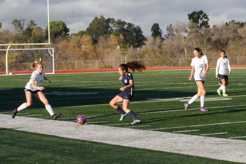 Raeann Artim (Sr.) steps up to pressure Beckman forward. (V.Li)