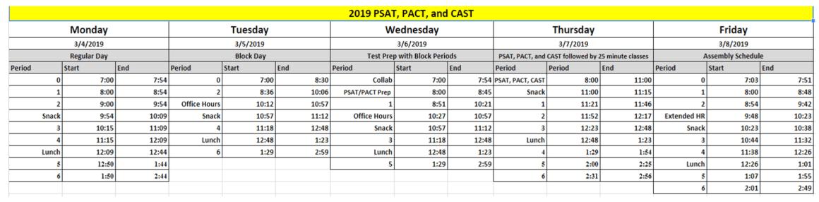 march4 schedule
