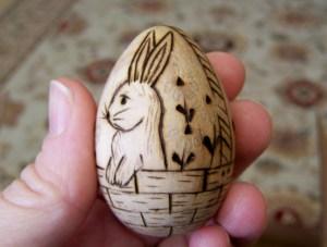 wood burned eggs