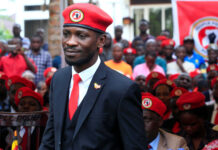 Ugandan musician turned politician, Robert Kyagulanyi also known as Bobi Wine arrives at the news conference at his home in Kasangati, Kampala, Uganda July 24, 2019. REUTERS/James Akena