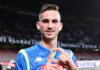 Fabian Ruiz player of SSC Napoli celebrates the victory after the UEFA Europa League Round of 16 First Leg match between S.S.C. Napoli and Red Bull Salzburg at Stadio San Paolo on March 7, 2019 in Naples, Italy. (Photo by Francesco Pecoraro/Getty Images)