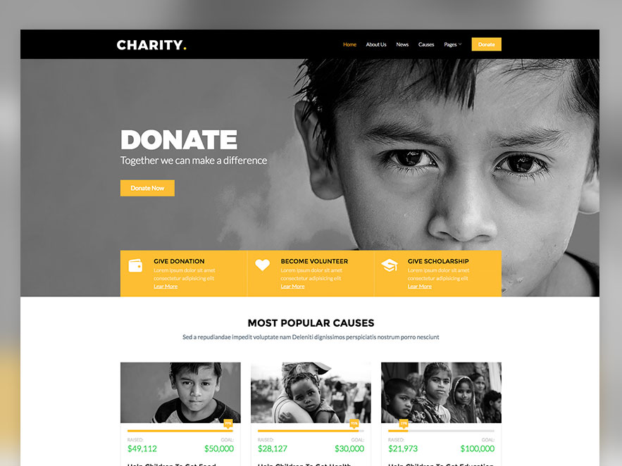 Charity Free Non Profit Responsive Bootstrap Website Template UiCookies
