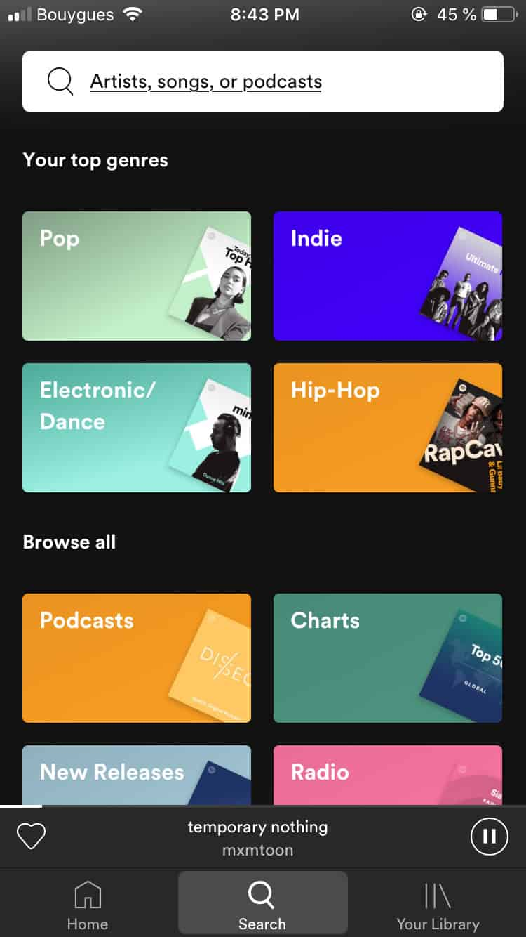 Search bar on iOS by Spotify from UIGarage