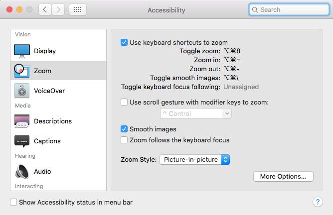 Как включить зум на Mac
