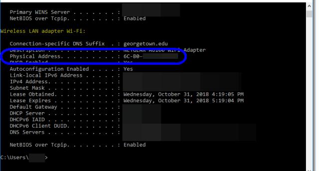 MAC Address displayed