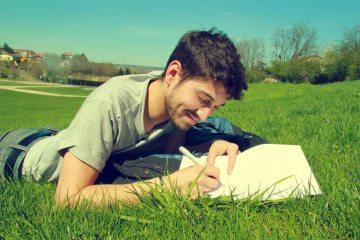 Schrijver in gras