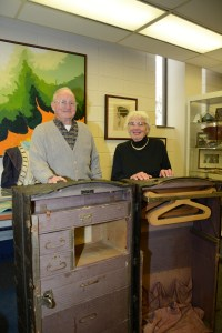 Loyal and Norma McLean are pictured with one of the two steamer trunks the Charles City, Iowa, couple donated to the University Archives at Upper Iowa University's Fayette Campus.