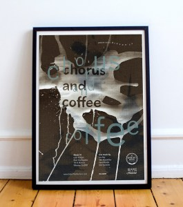 Chorus and Coffee graphic art created by Lauren Meranda for a coffee shop.