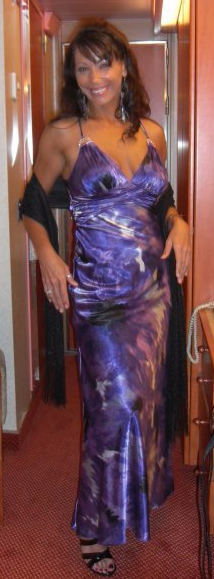 Photo of author in slinky purple cocktail dress