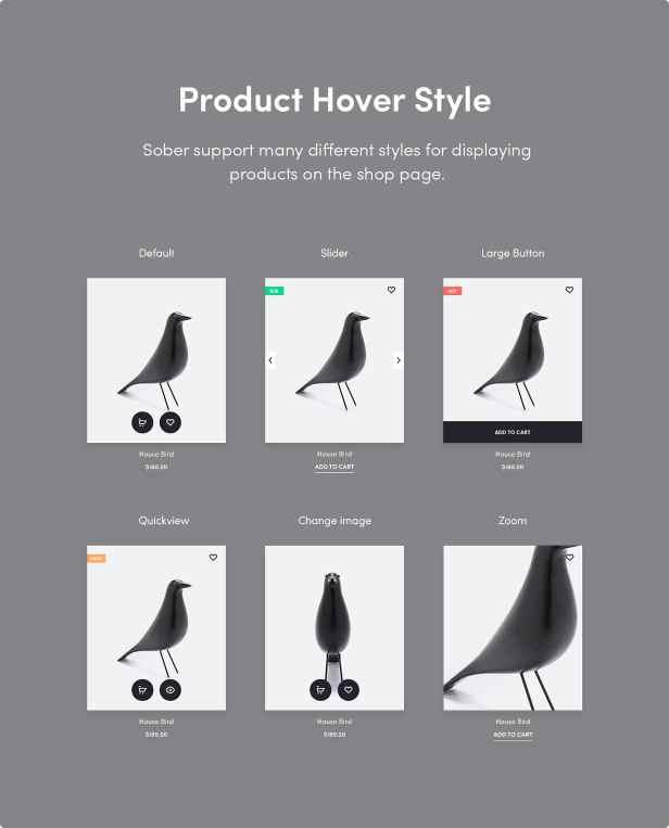 Sober WordPress theme product card styles