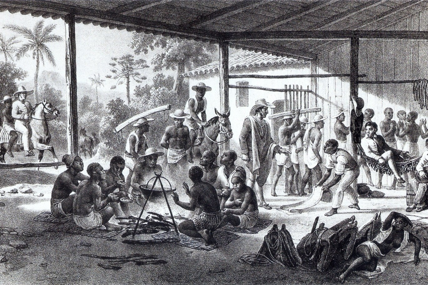 Recently bought slaves in Brazil on their way to the farms of the landowners who bought them c. 1830