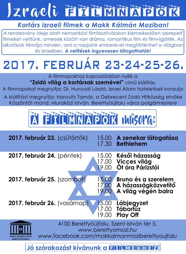 Izraeli Filmnapok 2017 - Berettyóújfalu. Plakát