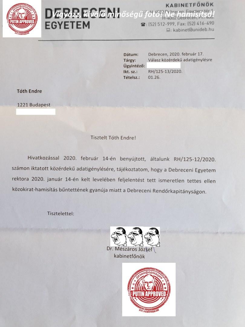 Debreceni egyetemnek levél