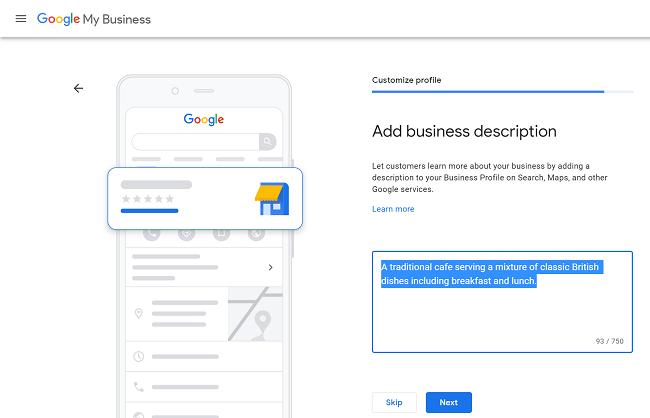 google maps business description