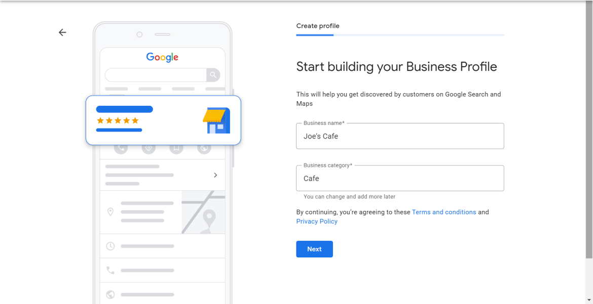 Adding a business name and type to Google My Business