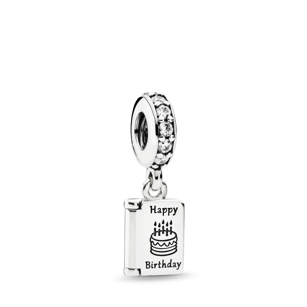 Birthday Wishes Pendant Charm Sterling Silver Cubic Zirconia