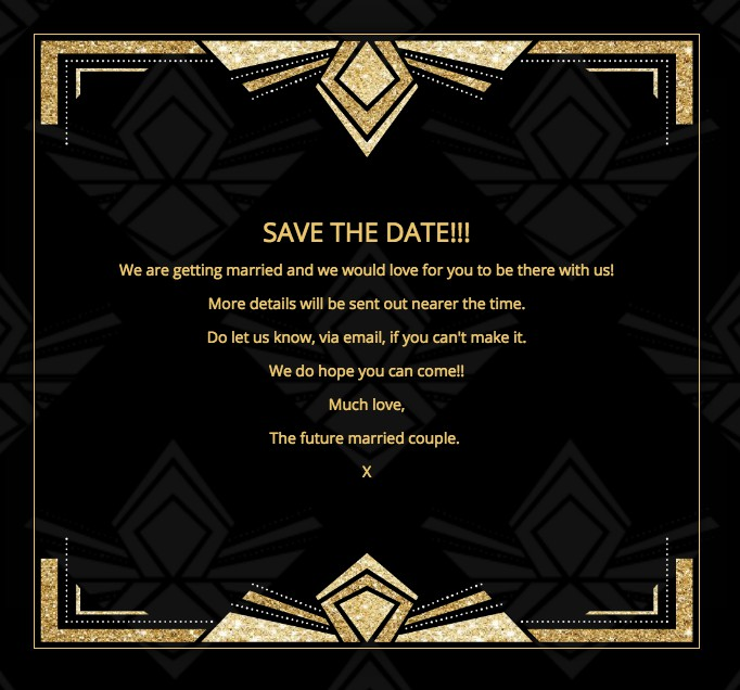 Art Deco theme wedding invitation