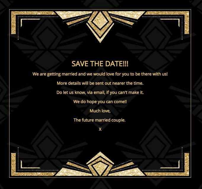 Art Deco theme wedding invitation