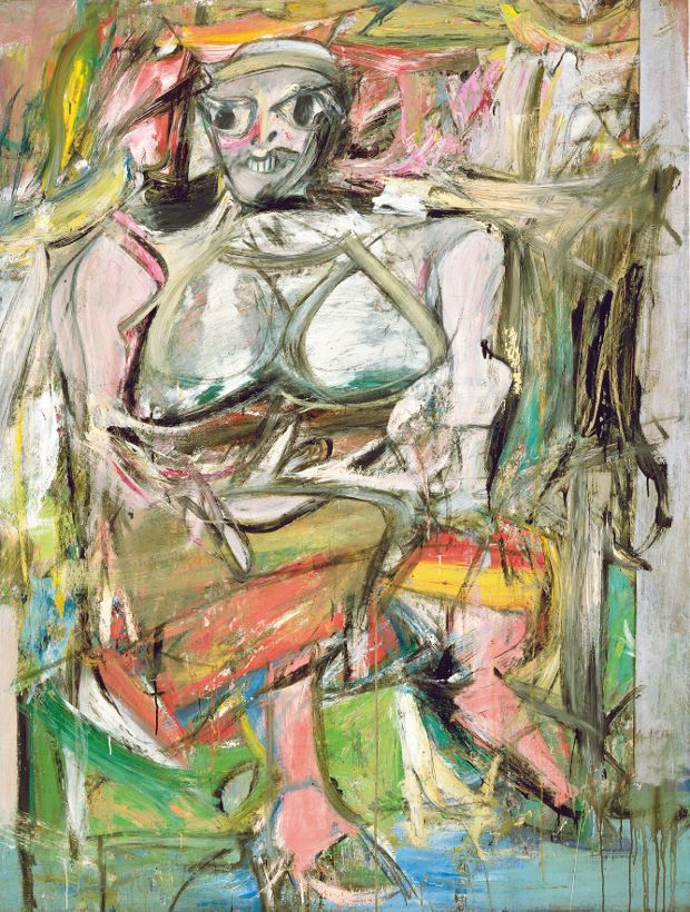 Woman I,(1950–2), oil, enamel and charcoal on canvas, 192.7 x 147.3 cm (75 x 58 in), The Museum of Modern Art, New York Artwork by Willem de Kooning © 2014 The Willem de Kooning Foundation/Artists Rights Society, (ARS), New York