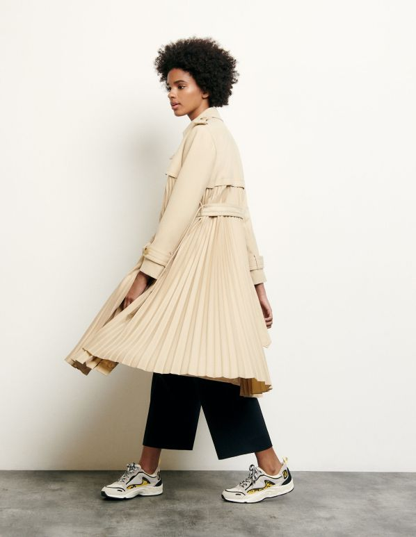 Pleated trench coat with belt : Coats color Beige - Sandro