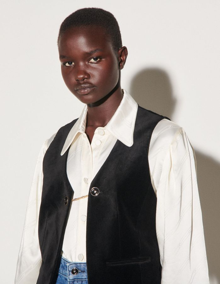 Velvet waistcoat : Clara Luciani x Sandro color Black - Zoom in this image