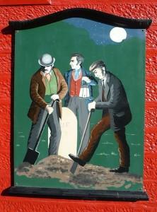 Des profanateurs de sépultures au travail. Peinture se trouve sur un des mures du Old Crown Inn à Peincuik en Ecosse.