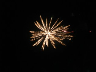 An orange firework in welcoming the new year
